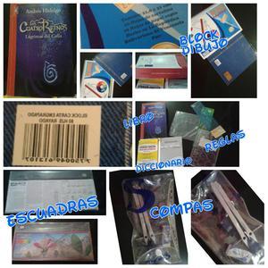 ventas de libros, compas, block diccionario juego de reglas