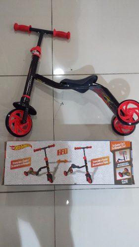 Monopatin 2 En 1 Hot Wheels Transf En Triciclo O Monopatin