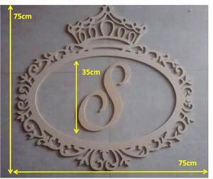 Marco Decorativo De 75cm Con Corona Y Una Letra En Mdf Crudo