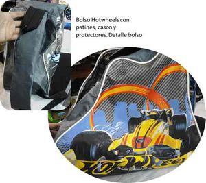 Bolso Con Patines, Casco Y Protectores Hotwheels