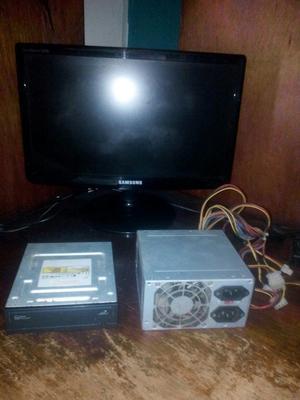 combo. monitor, unidad de cd y fuente de poder