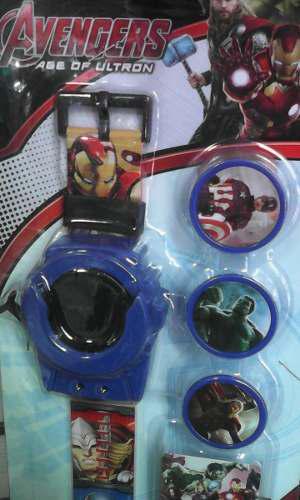 Reloj Lanza Tazos Para Niños Avengers, Cars, Hombre Araña,