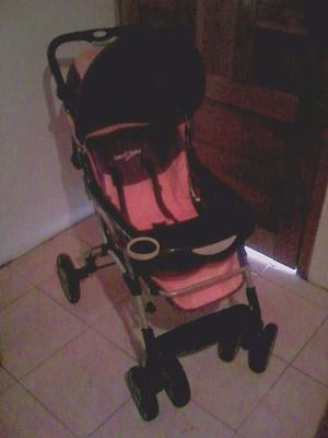 Coche Para Bebe 4 Ruedas Marron Y Naranja