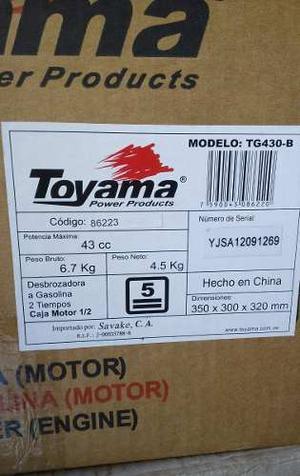 Desmalezadora Modelo Tg430-b.marca Toyama 2.3hp