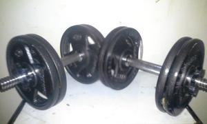 Juego De Pesas Mancuernas Con Ocho Discos 2.5kg Y Dos Barras