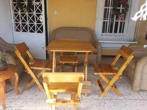 Juego De Sillas Pelgable C/mesa En Madera
