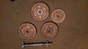 Pesas Discos De 10 Lbs Y 5 Lbs Barra Metálica 4.5 Kg