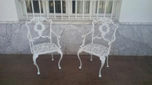 Sillas De Jardín De Hierro Forjado De Color Blanco