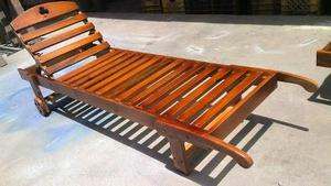 Tumbona De Madera Reclinable, Ideal Para Playas Y Piscinas