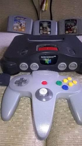 Nintendo 64 + 3 Juegos + 3 Controles + Accesorios