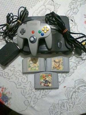 Nintendo 64 + 3 Juegos De Mario + 1 Un Control + Sus Cables.