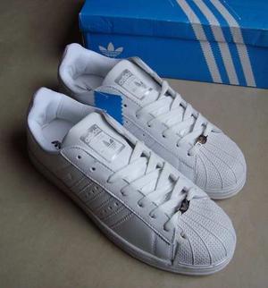 Kp3 Zapatos Adidas Superstar Blancos All White Del 36 Al 44
