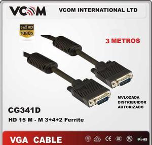 Cable Vga Svga Macho Macho 3 Mts 15pines Filtros Vcom Fullhd