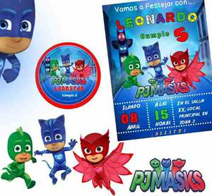 Kit Imprimible Pj Mask Candy Bar Personalizado Invitaciones