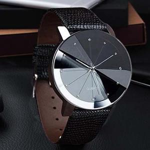 Reloj Quarzo De Cuero Negro Y Acero Inoxidable Militar