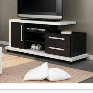 Centro De Entretenimiento Blanco Y Negro Mueble Para Tv 42