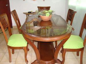 Juego de comedor 6 sillas y mesa ovalada en madera posot for Juego comedor madera 6 sillas