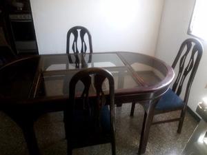 Mesa Comedor De Madera Y Vidrio De 6 Sillas