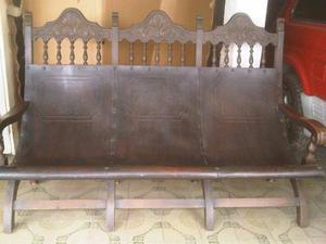 Muebles Coloniales Tipo Tobogan En Madera Caoba Y Cuerosuela