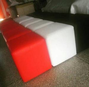 Puff Cubo Tapizados, Elaborados En Madera 41x41x45 De Alto