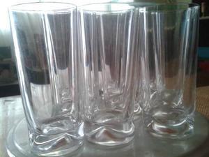 Antiguos Vasos Largos En Cristal Antiguos