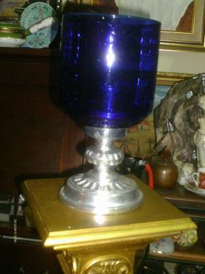 Candelabro De Piuter Y Cristal Color Azul Perfecto Estado