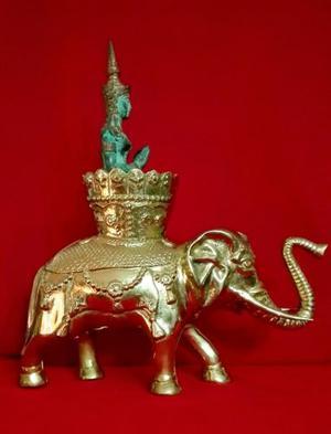 Escultura De Bronce Hindu Elefante Gran Tamaño Y Peso India