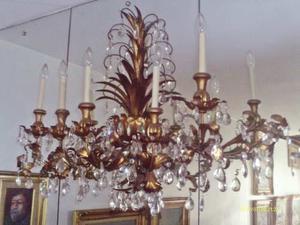 Lampara Aplique De Pared Dorado Con Cristales 5 Luces