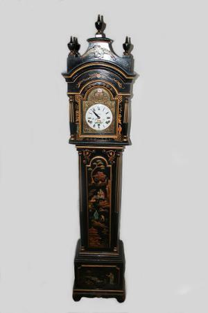 Reloj Madera Motivo Asiatico Cuerda Bronce
