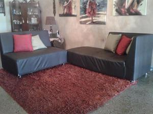 Muebles Negros Semicuero 2 Piezas Posot Class # Muebles En Semicuero