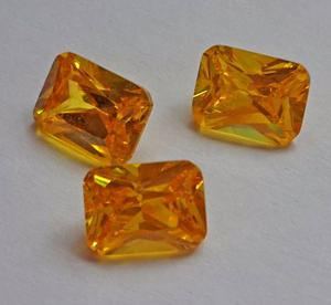 Piedra 8x6 Rectangutar Facetado Amarilla Para Anillos Grado