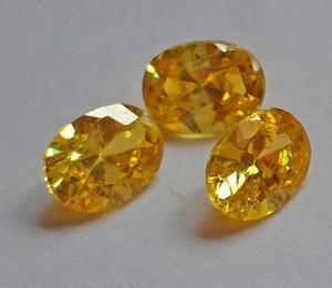 Piedra Sintetica 8x6 Facetada Amarilla Para Anillos De Grado