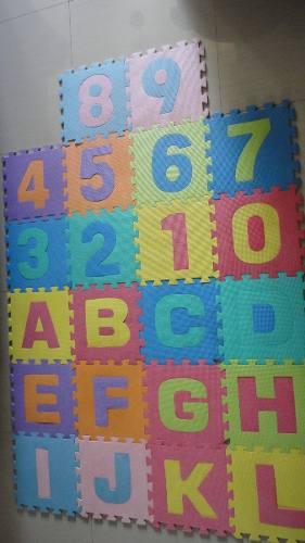 Alfombra De Foami Para Bebes 36 Piezas Abecedario Y Numeros