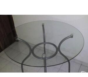 mesa comedor de vidrio y madera 4 puestos