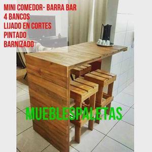 Mesa Comedor - Barra Bar 4 Bancos Madera De Pino