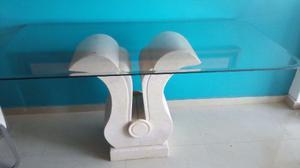 Mesa Comedor De Base De Marmol Y Vidrio Bicelado