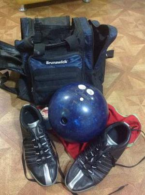 Equipo De Bowling Bolso Brunswick Y Zapatos 42 Bola 14 Libra
