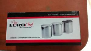Juego De 3 Canisters En Acero Inoxidable Marca Euro Chef