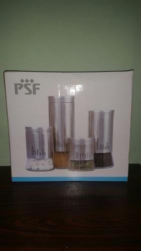 Set De Potes De Cocina Psf- 4piezas Vidrio+aceroinoxidable