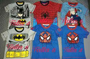 Franela Para Niños De Algodon Superheroes