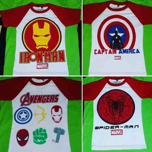 Ropa De Niño Franelas Spiderman Capitan America Iroman Hulk