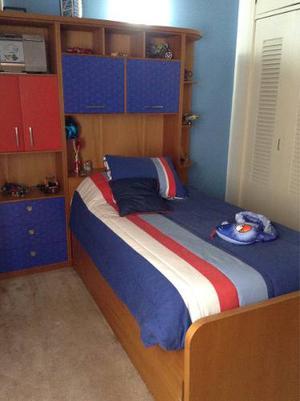Cama Habitación Juvenil Madera Cedro Y Formica