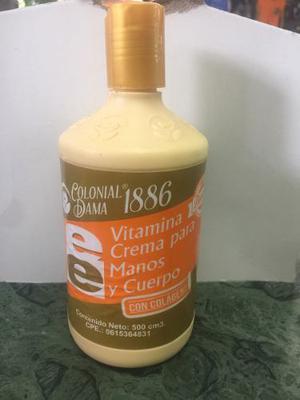 Vitamina Crema Para Manos Y Cuerpo Con Colágeno Y Vitamina