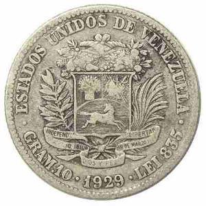 Moneda de plata Venezolana Año  Gramo 10 Lei 835