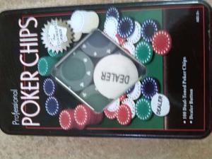 Juego De 100 Fichas De Poker Y 2 Juegos De Cartas