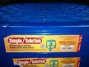 Banquitos Plásticos Apilables Nuevos Solo En Color Azul