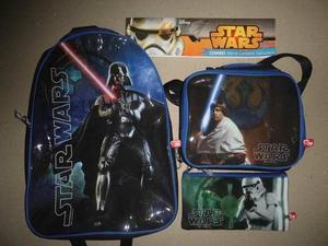 Combo Escolar Niños Morral Lonchera Cartuchera Star Wars