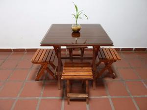 Juego De Comedor Jardín Madera Con Vidrio, Entrega Personal