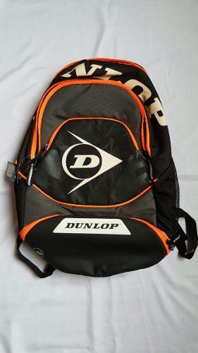 Morral De Tennis Bagpack Dunlop Negro Y Naranja Nuevo