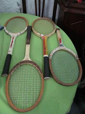 Raquetas De Tenis De Madera De Coleccion Cant 4 Raquetas